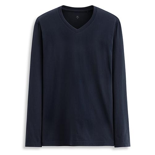 PIMA 棉V領長袖衫-男