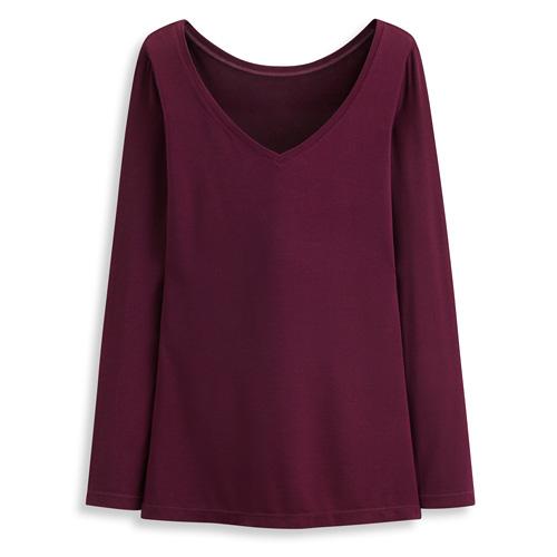 保暖V領長袖衫-女