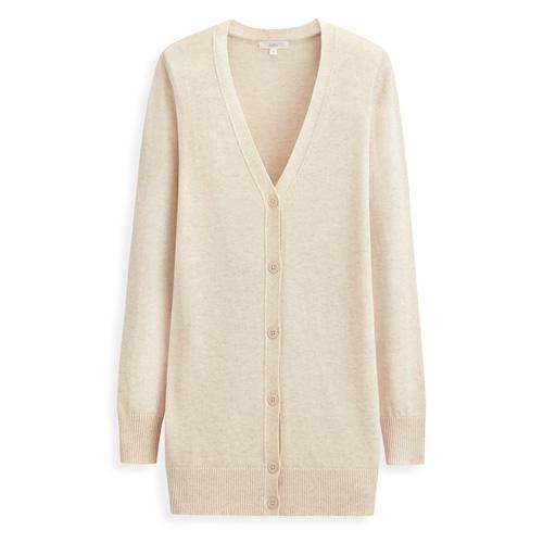 棉質長版V領針織外套-女