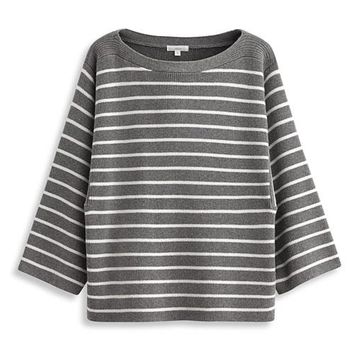 羊毛混紡條紋針織衫-女