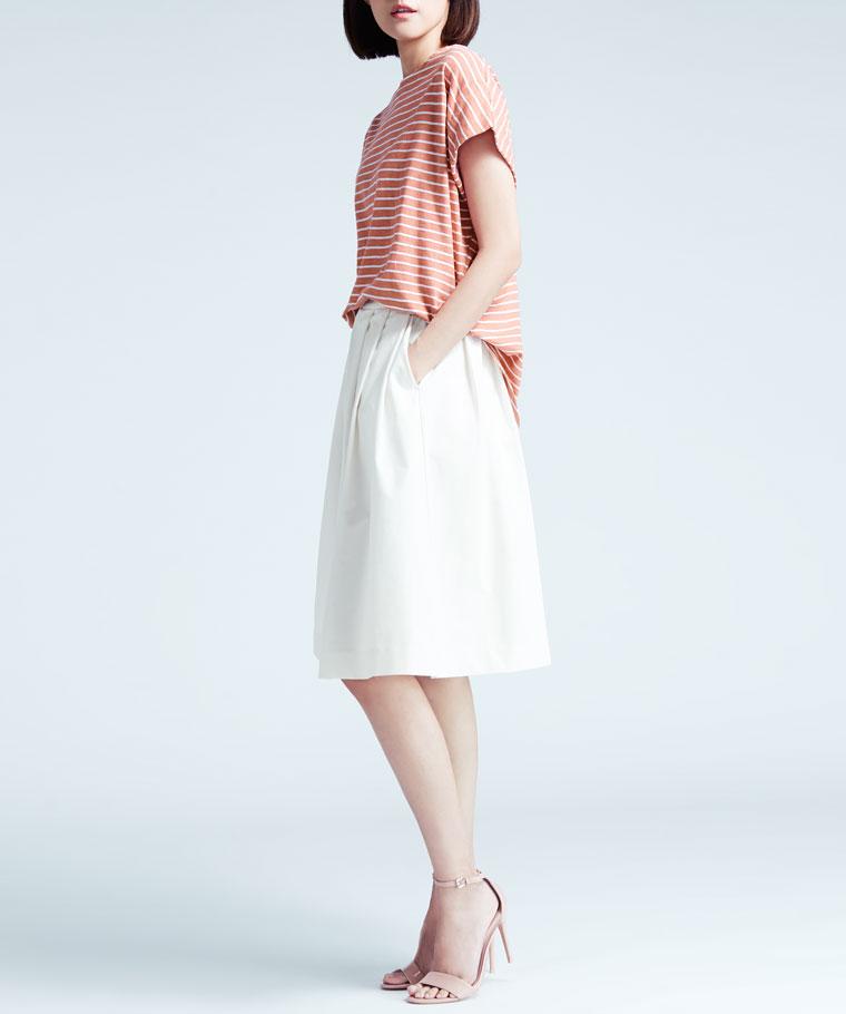 竹節棉寬版條紋短袖衫-女