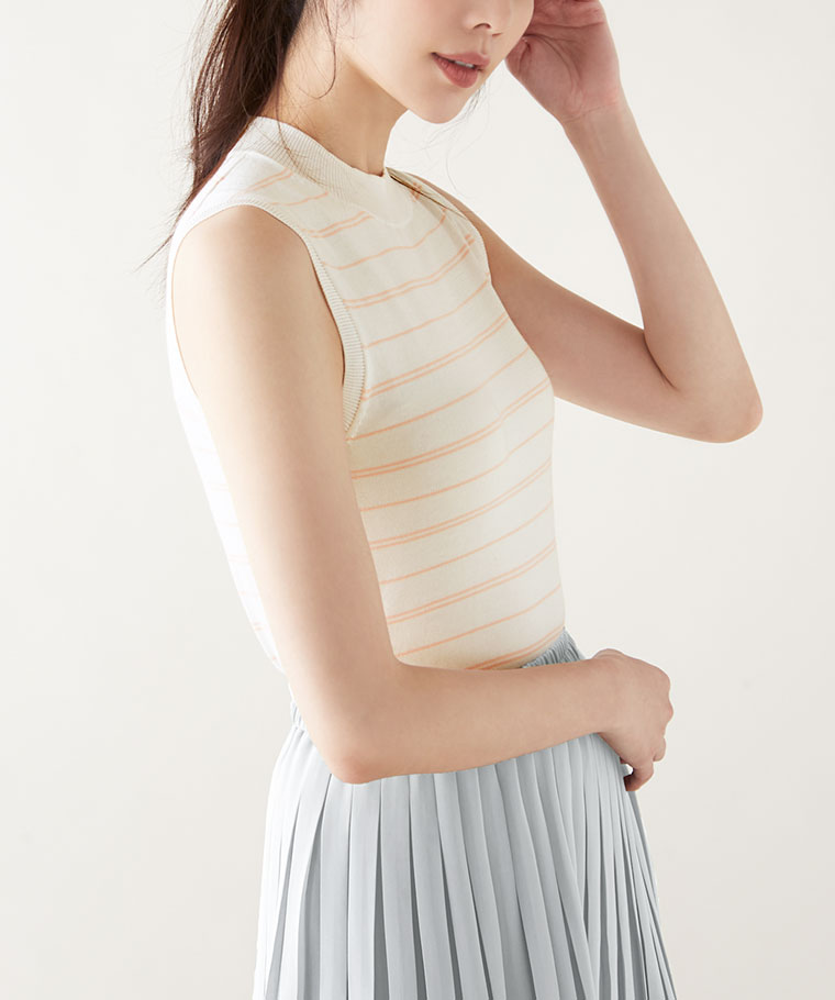 Pima 棉條紋背心-女