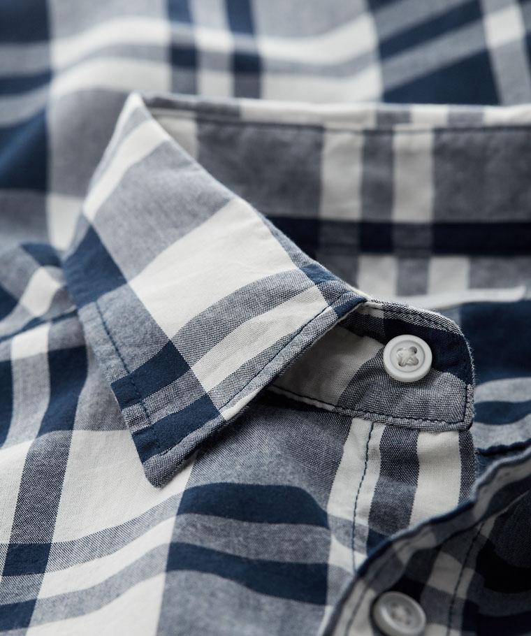 經典格紋短袖襯衫-男