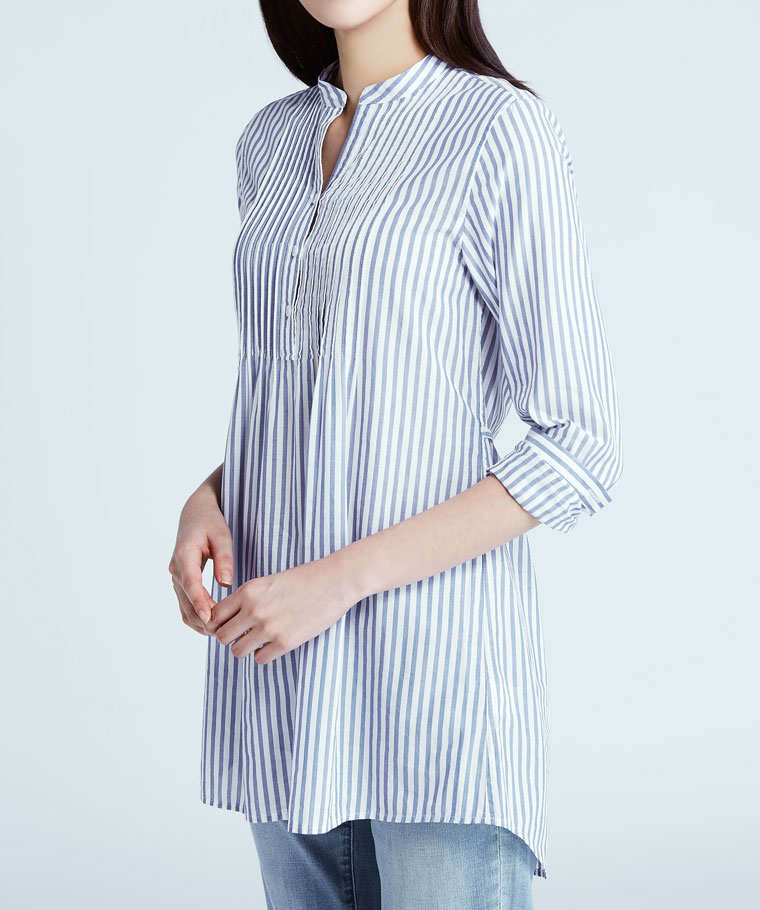 立領細褶長版襯衫-女