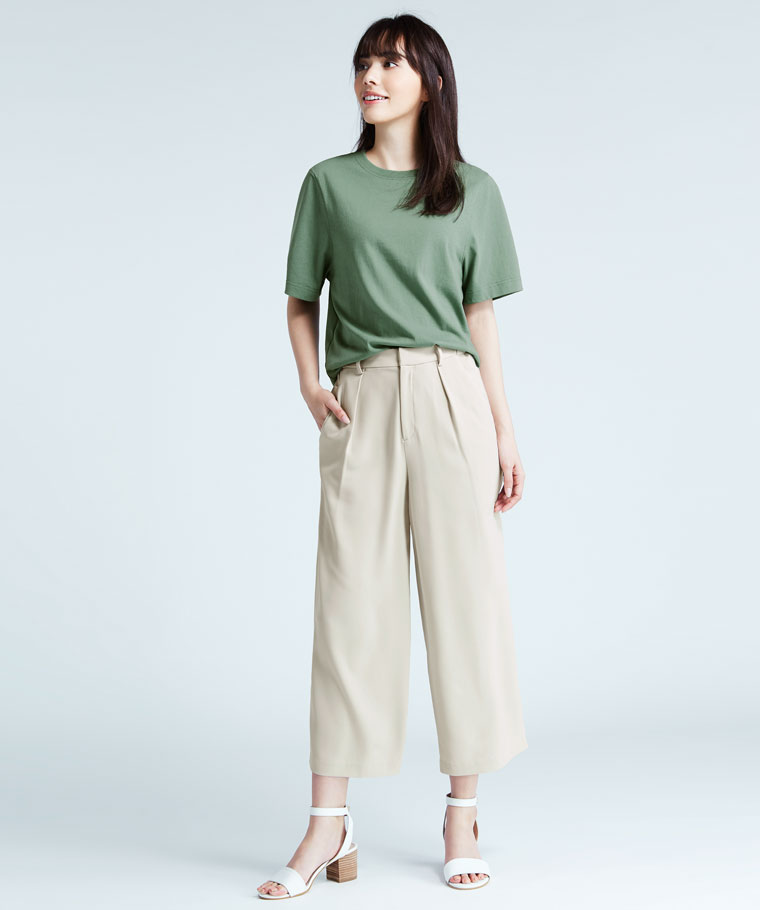 純棉寬鬆短版T恤-女