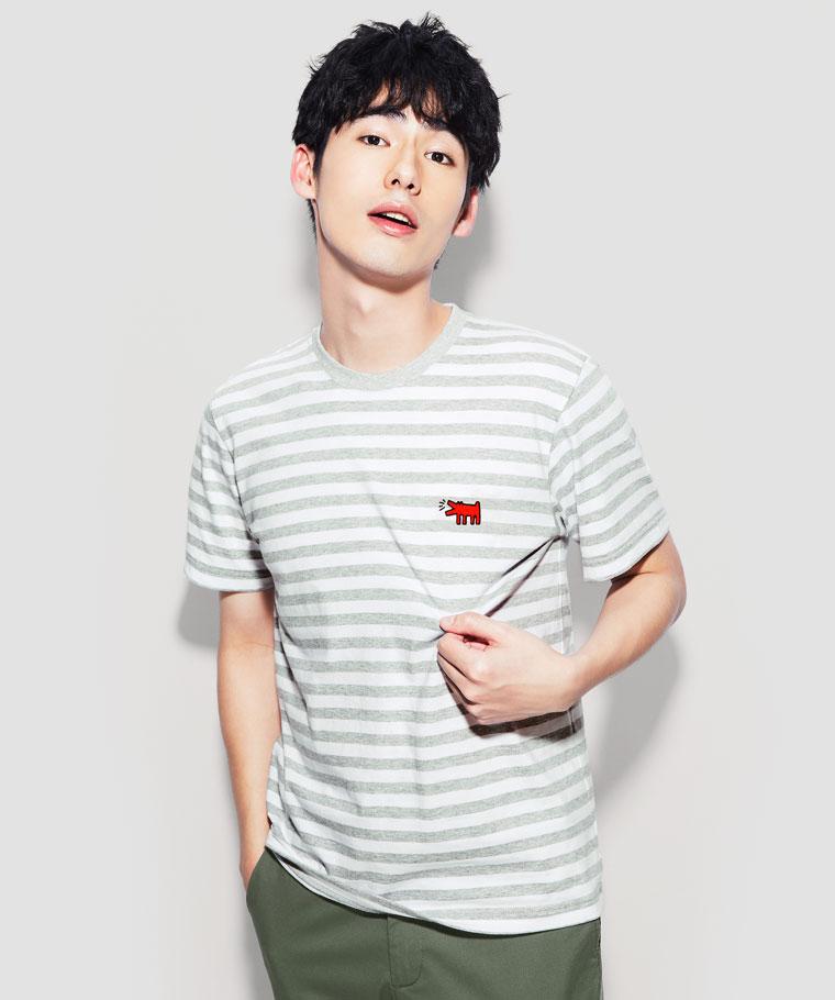 Keith Haring條紋印花T恤-08-男