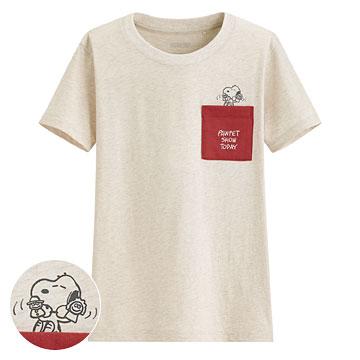 史努比口袋印花T恤-23-女