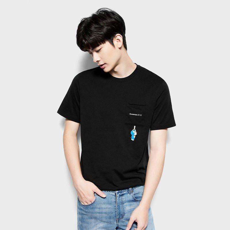 哆啦A夢口袋印花T恤-16-男
