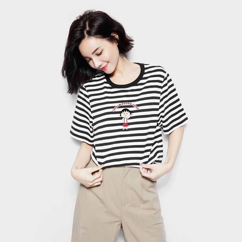 櫻桃小丸子寬版條紋印花T恤-04-女